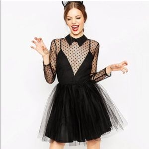 EUC ASOS black mesh tulle dress with collar.